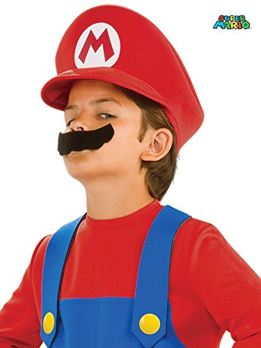 Nintendo Super Mario Brothers Mario Child Hat and Mustache, One Size Child - Boys Super Mario Costumes