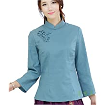 Shanghai Story Chinese Oriental Long Sleeve Tang Qipao Top Solid Blouse