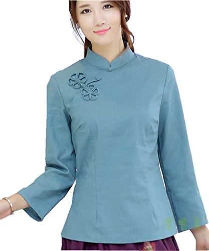 shanghai-story-chinese-oriental-long-sleeve-tang-qipao-top-solid-blouse-10-blue