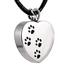 Pet Memorial Ashes Necklace - 4Paw Printed on Heart Cremation Pendant Necklace for Dog Cat