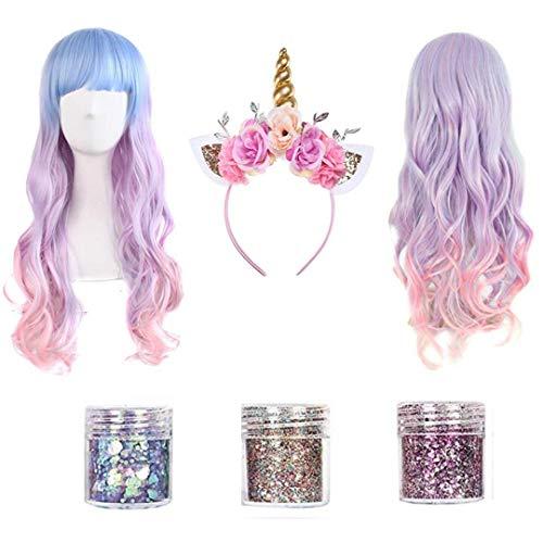 Unicorn Gifts | Unicorn Headband Adult | Rave Clothes | Unicorn Toys for Girls | Unicorn Gifts for GIrls | Unicorn Costume Women | Unicorn Wig | Silver Glitter | Pink Wigs for Women | Glitter Makeup -