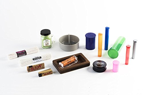 """16 Item Bundle - Tray, 6DR, 30DR, 60DR Pop Tops, Mini Candle, 6"""" 44ct Soft Pipe Cleaner, 6"""" 44ct Bristle Pipe Cleaner, Raw Paper, Raw Tips, Grinder, Zig Zag Roller, DePiper, 2 Small Tubes, 2 Lrg Tubes"""