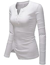 Womens Vneck Slim Cut Henley Long Sleeve City Casual Tshirts