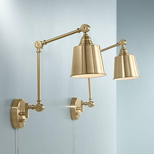 Set of 2 Mendes Antique Brass Down-Light Plug-in Wall Lamps - 360 Lighting (Brass Two Light Wall Lamp)