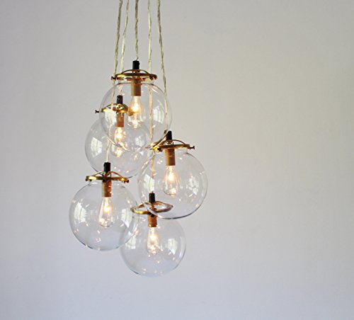 Glass Globe Cluster Chandelier, 5 Clear Hanging Orb Pendants by BootsNGus