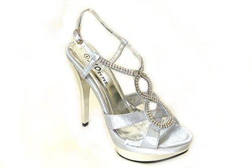 SKO'S Ladies Womens Diamante Low Mid High Heels Bridal Sandals Strappy Kitten Heeled Stiletto Shoes Wedding Evening Party Prom Silver (31050-8) K4vrbf