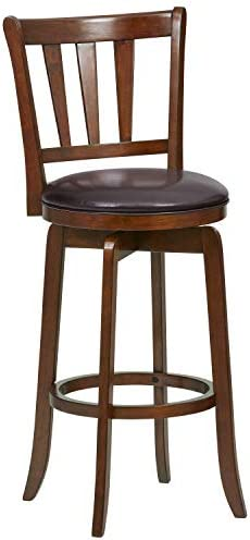 Amazon Brand Ravenna Home Rosalind Swivel Ladder Back Bar Stool, 43.6 H, Cherry