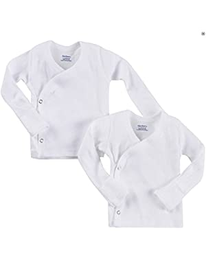 Gerber Unisex-Baby 2 Pack Long Sleeve Side Snap Mitten Cuffs Shirt- Preemie