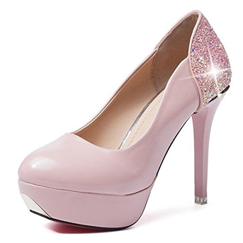 Marrone Cadono Rosa Comfort Tacchi Scarpe per DIMAOL Primavera Donna Nero Stiletto Rosa PU Bianco Heel Casual S1Hxq
