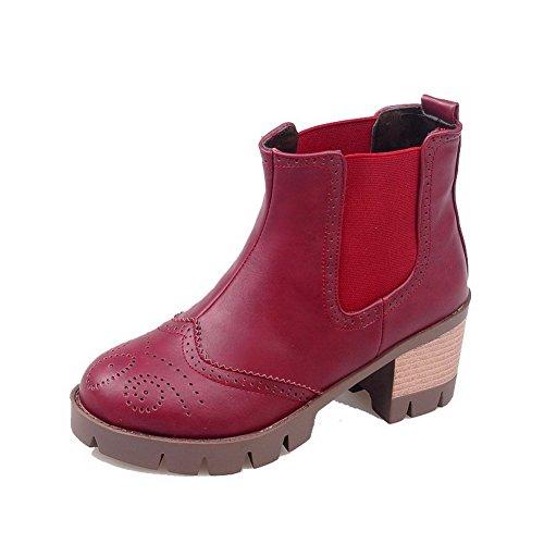 AllhqFashion Damen Ziehen auf Blend-Materialien Rund Zehe Stiefel, Pink, 34