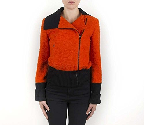Jacket, Bomber, Outerwear, Casual, Woman, Girl, Wool, Orange, Black, Unique piece, USA size 8, Italian style, Italian fabric, Made in Italy, Handmade by Old Fashion Sartoria, Florence, Italy