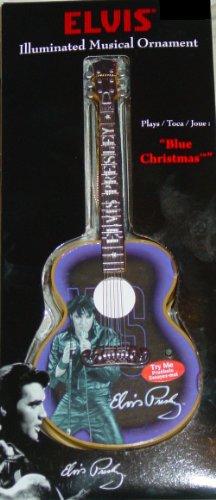 "Elvis Presley 7.5 inch Illuminated & Musical Guitar Ornament Plays ""Blue Christmas"""