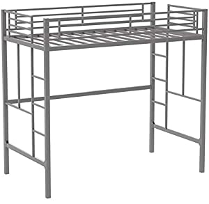 Your Zone Metal Loft Twin Bed by SuperIndoor (Silver)