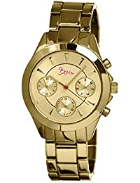 Baiser Quartz Gold Bracelet Women's Watch with Date