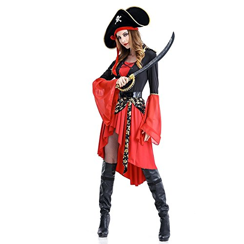 HDE Womens Pirate Captain Halloween Costume Long Sleeved Dress with Hat & Belt (Womens Ship Mate Costumes)