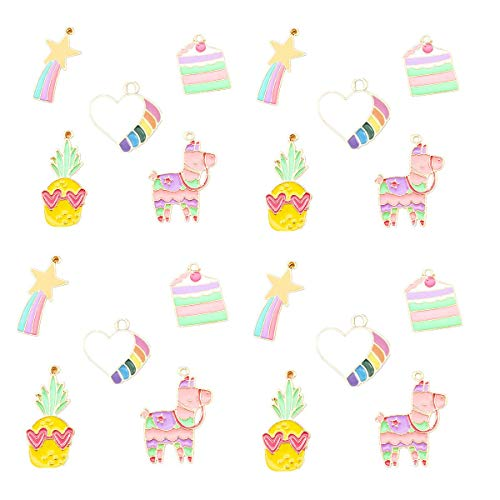 (20 Pcs Cute Meteor Love Pineapple Horse Cake Charm Pendant Enamel Sequins Dangle Gold Plated Dainty Ornament for Necklace Bracelet Ankle Earring Jewelry DIY Making )