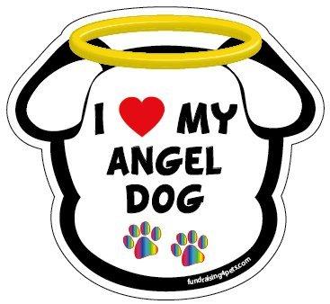 I Love My Angel Dog dog head magnet