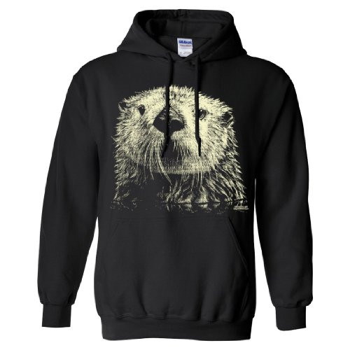 giant otter face sweatshirt hoodie black large