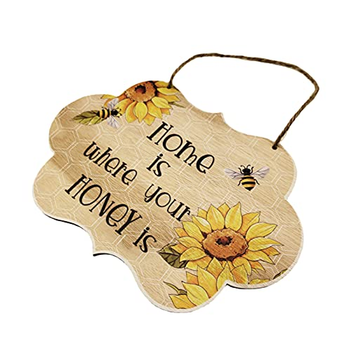 LUKETURE Wooden Door Hangers Outdoor Hanging Welcome Sign New Bee Festival Wooden Pendant Festival Home Landscape Decoration Creative Decoration Crafts Pendant For Mother's Day,International Bee Day