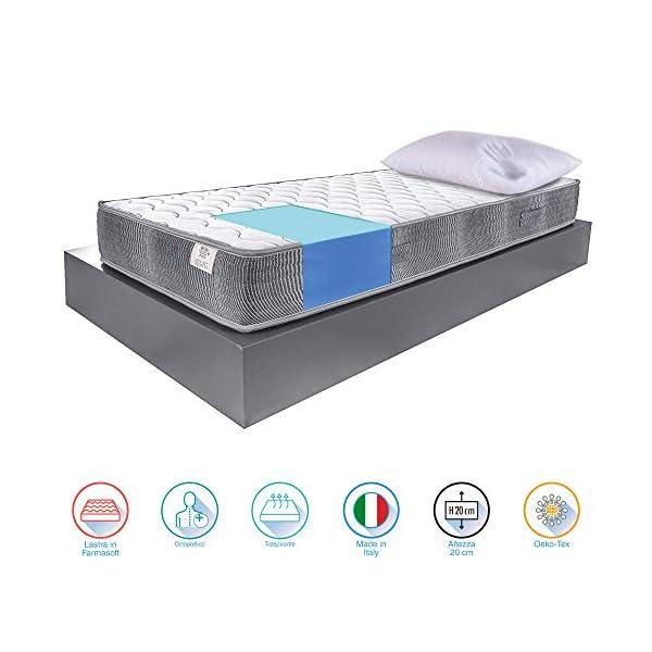 Farmarelax, Kit materasso singolo, 80x190,h20 cm, più cuscino memory in regalo, guanciale in omaggio, antibatterico… 2 spesavip