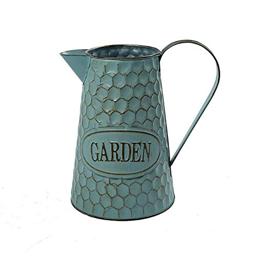Watering Honey 9 inch Creative Old Fashioned Metal Pitcher Rustic Country Primitive Jug Vase with Honeycomb Printing for Home Wedding Cafe Decor
