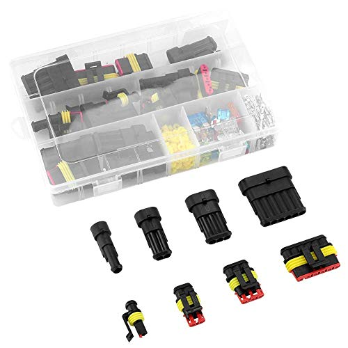 Waterproof Electrical Wire Connector, 1 2 3 4 5 6 Pin Car Motorcycle Electrical Wire Connector Terminal Assortment Box Kit: