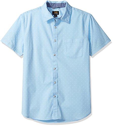 (LEE Men's Size Short Sleeve Button Down Dress Shirt Camp Regular Big Tall, Print Powder, 4XL)
