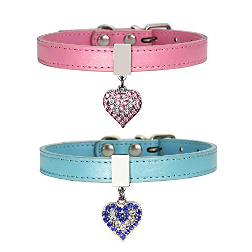 ZOOPOLR Small Pet Collar, Puppy Dog Cat Adjustable Leather Buckle Neck Strap (Bling Heart Pendant) (XS)