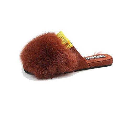 Plano Otoño caseros Caqui el Vestido del Dedo de Chanclas Bowknot Negro Informal Marrón DANDANJIE Zapatos marrón talón Zapatillas 39 pie Cerca Mujer Zapatillas del Invierno Lindas y para del 35 OfTqwRZS