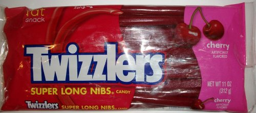 Twizzlers Cherry Flavored Super Long Nibs Candy 11 Oz Bag -