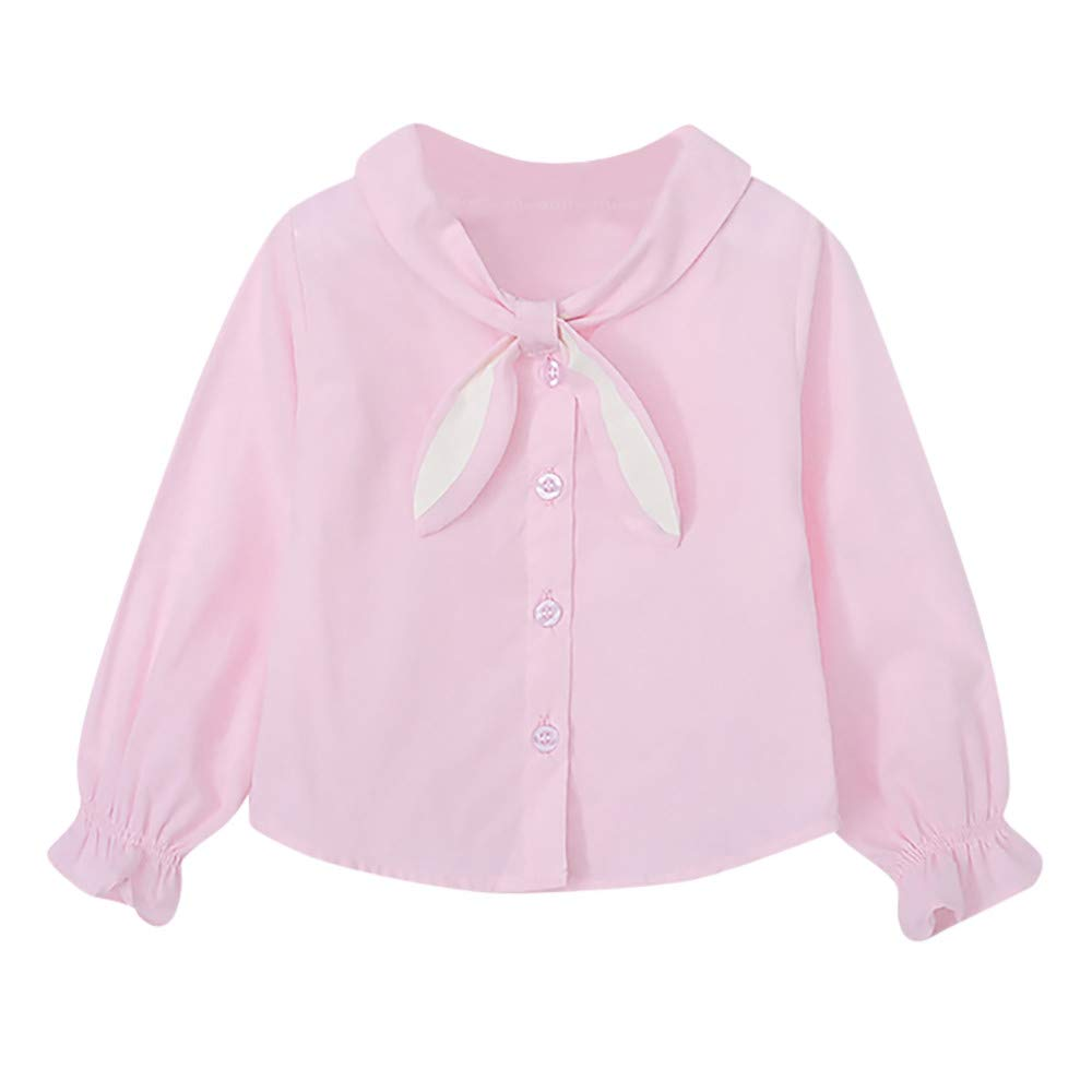 Zerototens Baby Girls Shirt,0-4 Years Old Toddler Kids Blouse Tops Long Sleeves Cartoon Rabbit Ears Cravat Top Clothes Spring Autumn Casual Button T-Shirt Princess Tops