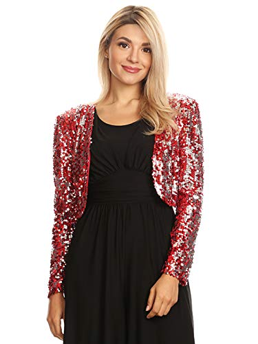 Anna-Kaci Womens Shiny Sequin Long Sleeve Glitter Cropped Blazer Bolero Shrug, Red, X-Large -