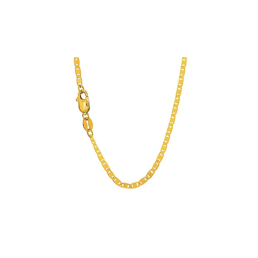 "JewelStop 10k Solid Yellow Gold 1.7 mm Mariner Chain Anklet, Lobster Claw Clasp 10"", 1.2gr."
