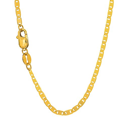 """JewelStop 10k Solid Yellow Gold 1.7 mm Mariner Chain Anklet, Lobster Claw Clasp 10"""", 1.2gr."""