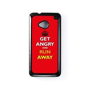 Get Angry Carcasa Protectora Snap-On en Plastico Negro para HTC® One M7 de Chargrilled + Se incluye un protector de pantalla transparente GRATIS