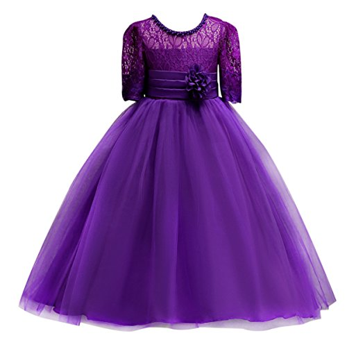 Little Big Girl Lace Flower Girl Princess Prom Dress Tulle Party Fall Dance Evening Ball Gown Kids Wedding Bridesmaid Pageant Purple 10-11 (Fall Dance Decorations)