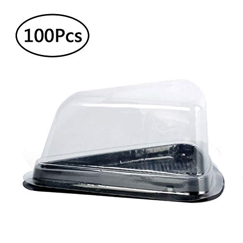 Cake Slice Container Cheesecake Pie Containers Pies Holder Set of 100 Pcs Clear Plastic with Black Base Fits Less Than 4.5x3.1x3in - Cheesecake Slice