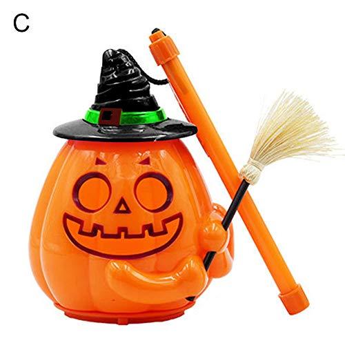 LUYANhapy9 Portable Handheld Sound Control LED Realistic Horro Pumpkin Lamp Lantern Halloween Decoration - Black C ()