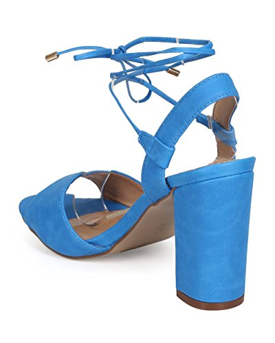 Breckelles EE02 Women Leatherette Peep Toe Wrap Low Slingback Sandal Light Blue xx1eJHrt