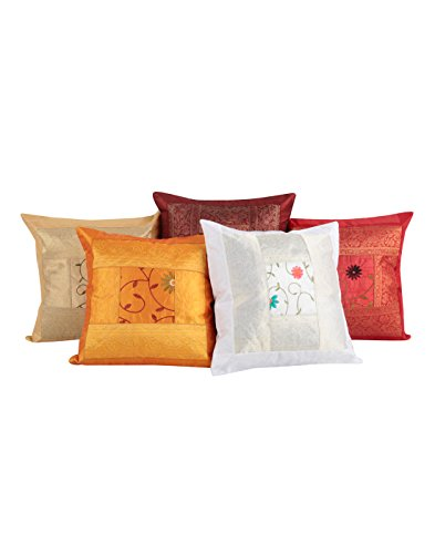 (Vintage Ethnic Indian Rajasthani Decor - Traditional Cotton Cushion Covers 16 x 16 Set of 5 Colorful Living Room Home Decorative Throw Pillows for Sofa and Couch Hippie Boho Shams Case)