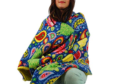 Fleece throw blanket- Paisley turtles by Created by Laura