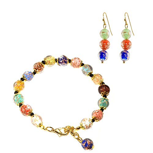 Just Give Me Jewels Genuine Venice Murano Sommerso Aventurina Glass Bead Bracelet and Earrings Set in Multi-Color - Murano Glass Earrings Set