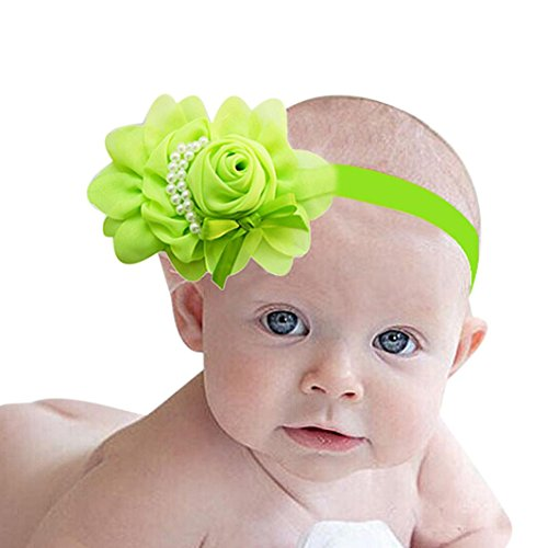 DZT1968® Baby Girl Narrow Turban Headband Head Wrap Hair Band With Large Flower (Green) - Narrow Green Band