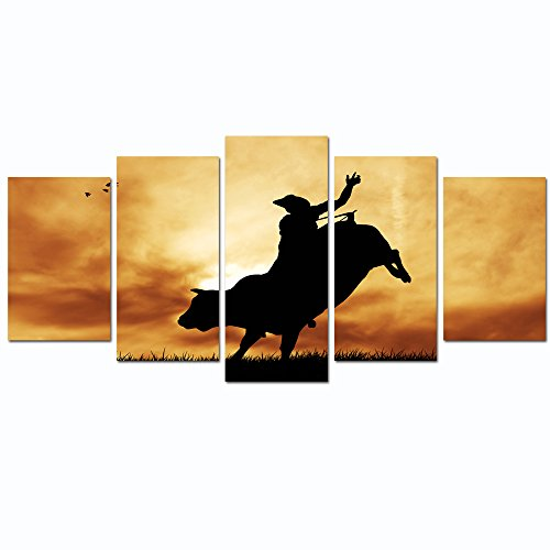 Sea Charm- Bull Rider at Sunset,Modern 5 Pieces Wall Art Cowboy Silhouette Picture Giclee Artwork Printed,Framed Painting for Home Office Wall -