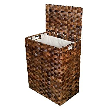 BirdRock Home Abaca Flat Weave Laundry Hamper | Hand Woven | Removable Canvas Laundry Bag