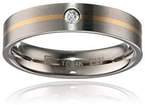 Men's Titanium and 14k Yellow Gold 5mm with Cubic Zirconia Ring, Size 9