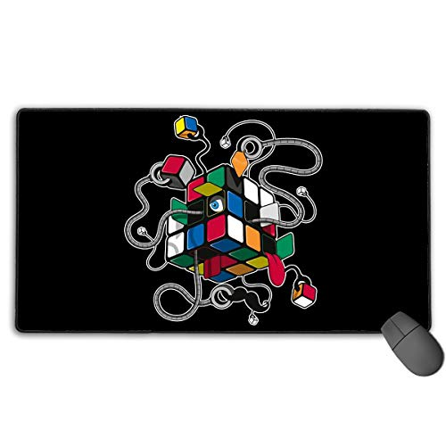 Large Gaming Mouse Pad/Mat, Rubiks Cube Custom Mouse Mats with Non-Slip Rubber Base for Computers Laptop, Durable Stitched Edges -