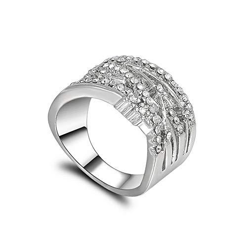 (Monowi Fashion 925 Silver White Sapphire Women Jewelry Wedding Rings Ring Size6-10 | Model RNG - 19520 | #6 Silver)