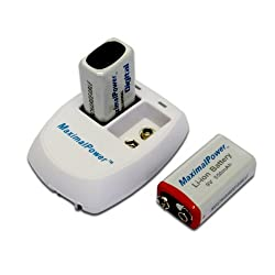 Maximal Power Combo 9v Maximalpower 9v Battery & Charger Pack Of 2 9v Li-ion Rechargebale Batteries