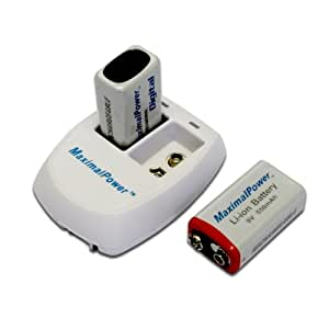 Maximal Power Combo 9V MaximalPower 9V Battery and Charger Pack of 2 9V li-ion Rechargebale Batteries